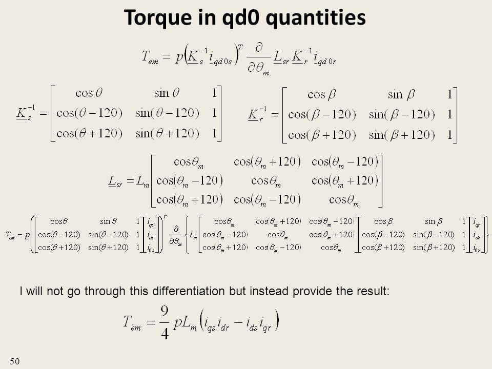 Torque in qd0 quantities