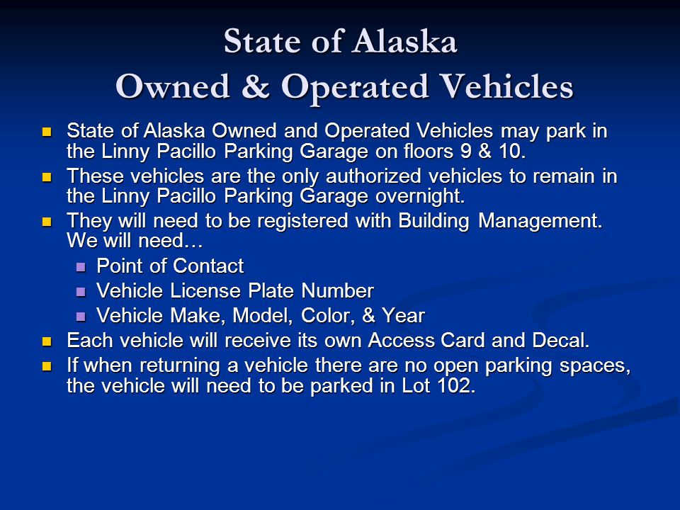 State of Alaska Owned & Operated Vehicles