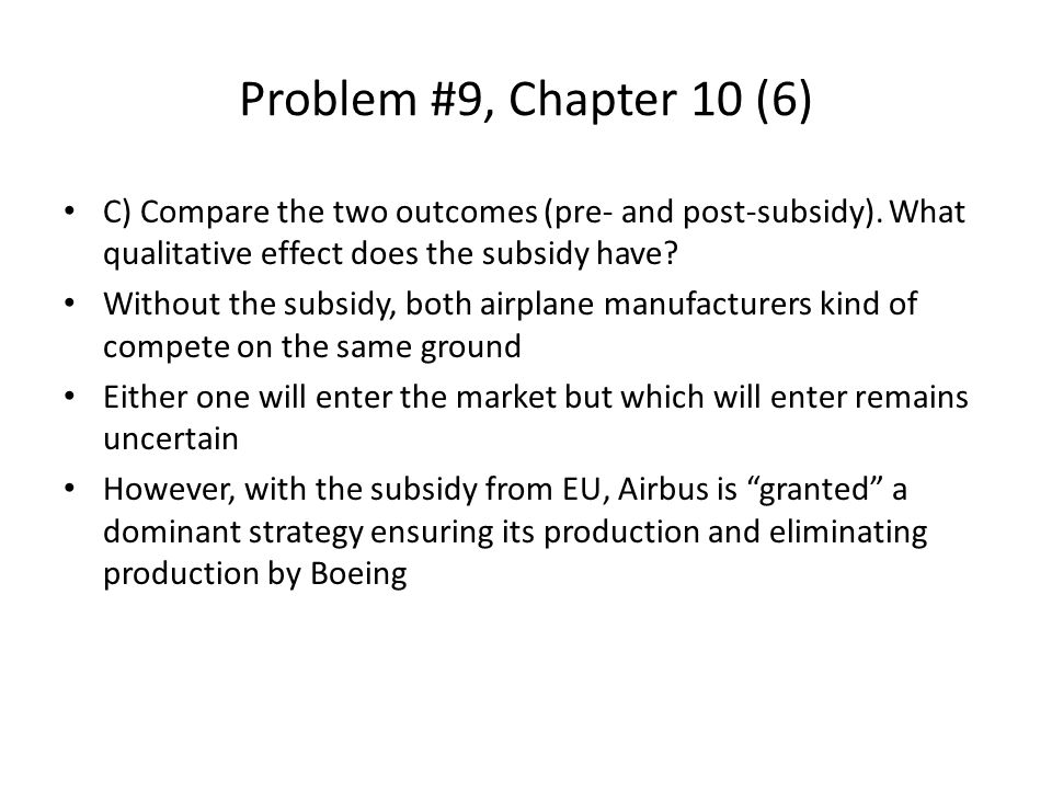 Problem #9, Chapter 10 (6) C) Compare the two outcomes (pre- and post-subsidy). What qualitative effect does the subsidy have