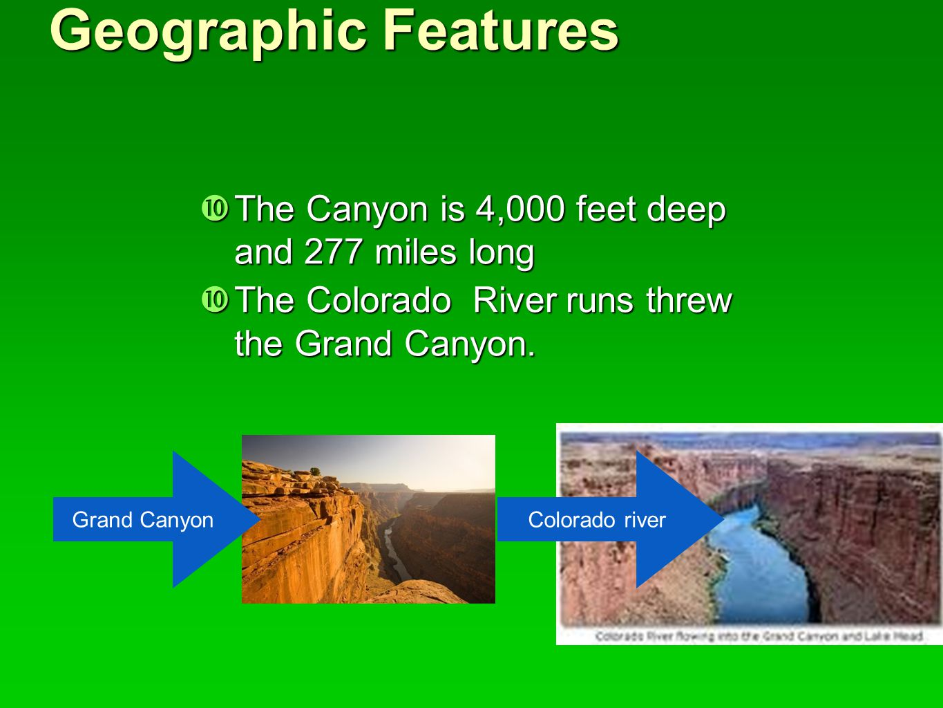 Geographic Features The Canyon is 4,000 feet deep and 277 miles long