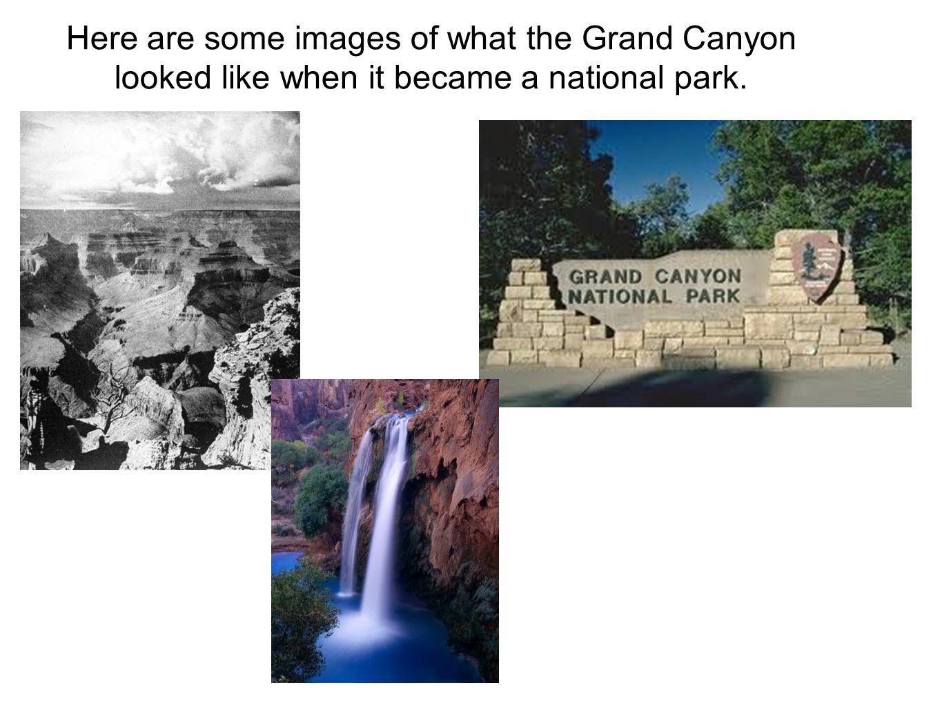 Here are some images of what the Grand Canyon looked like when it became a national park.
