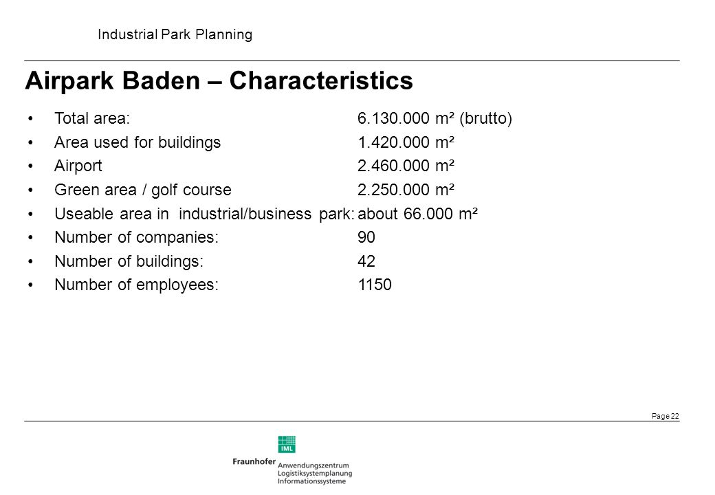 Airpark Baden – Characteristics