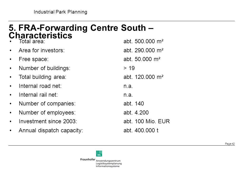5. FRA-Forwarding Centre South – Characteristics