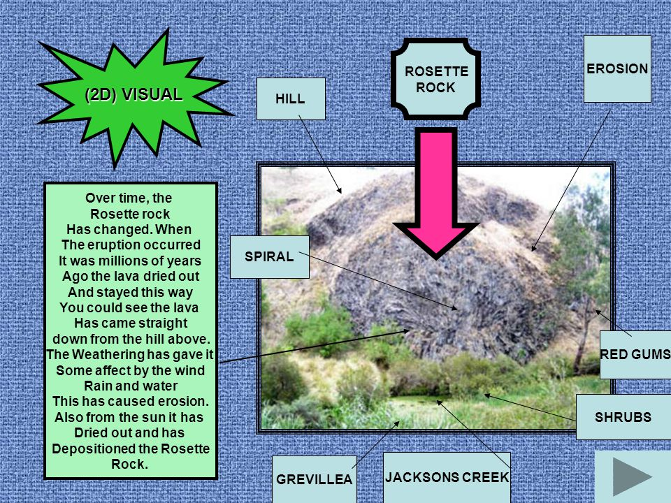 (2D) VISUAL EROSION ROSETTE ROCK HILL Over time, the Rosette rock