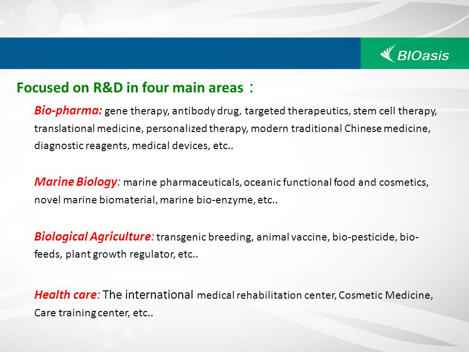 Focused on R&D in four main areas: