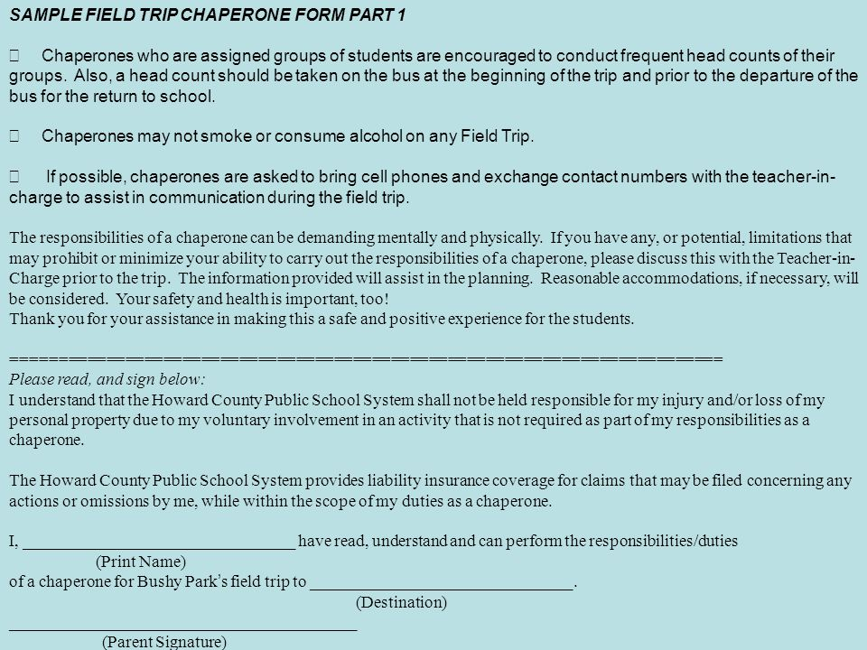 SAMPLE FIELD TRIP CHAPERONE FORM PART 1