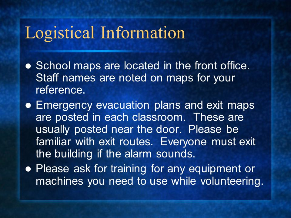 Logistical Information