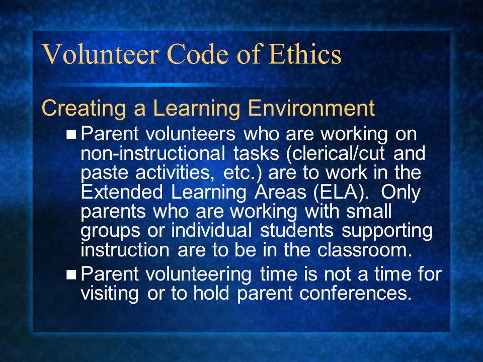 Volunteer Code of Ethics
