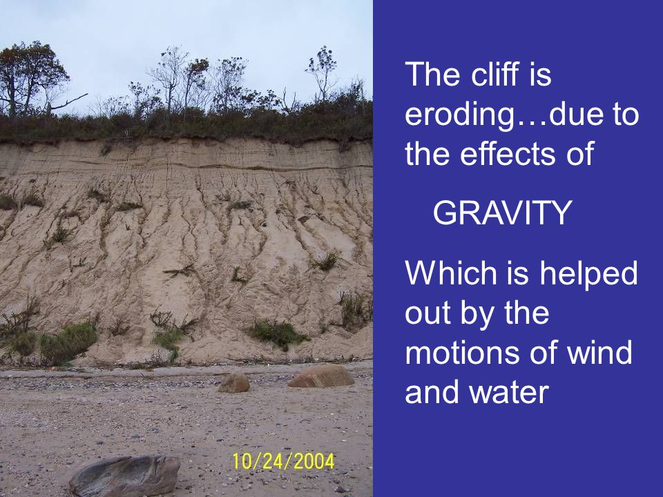 The cliff is eroding…due to the effects of