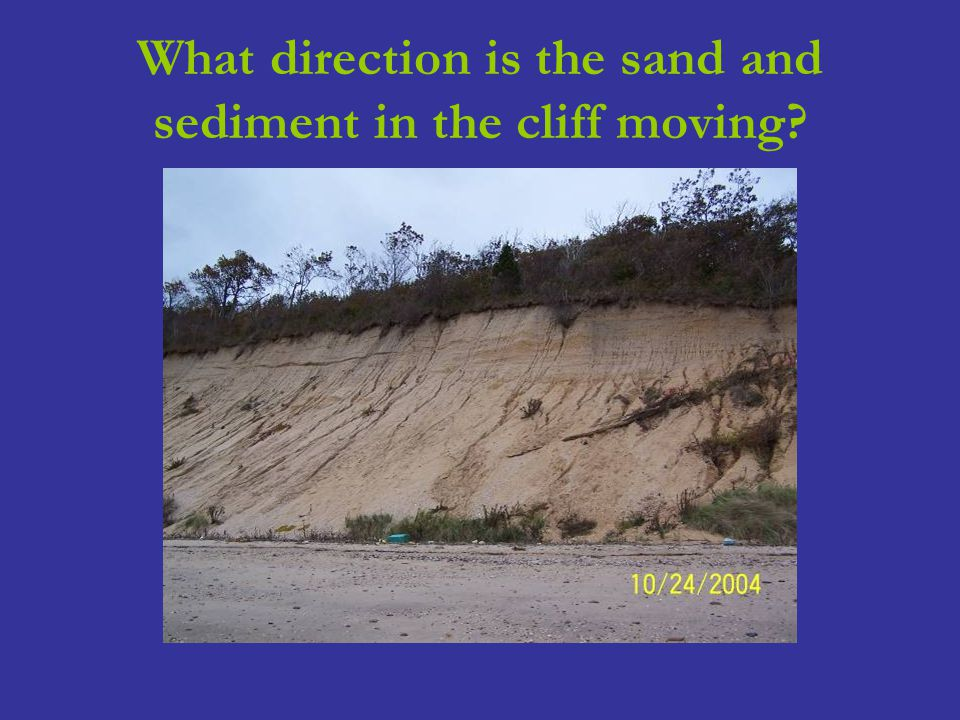 What direction is the sand and sediment in the cliff moving