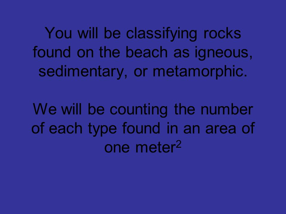 You will be classifying rocks found on the beach as igneous, sedimentary, or metamorphic.