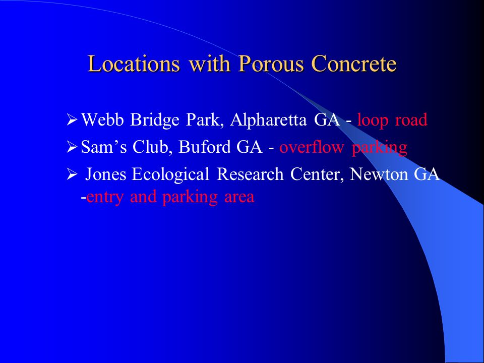 Locations with Porous Concrete
