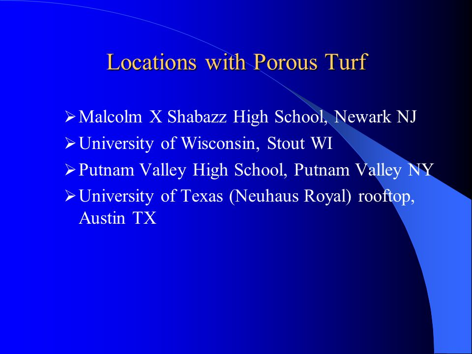 Locations with Porous Turf