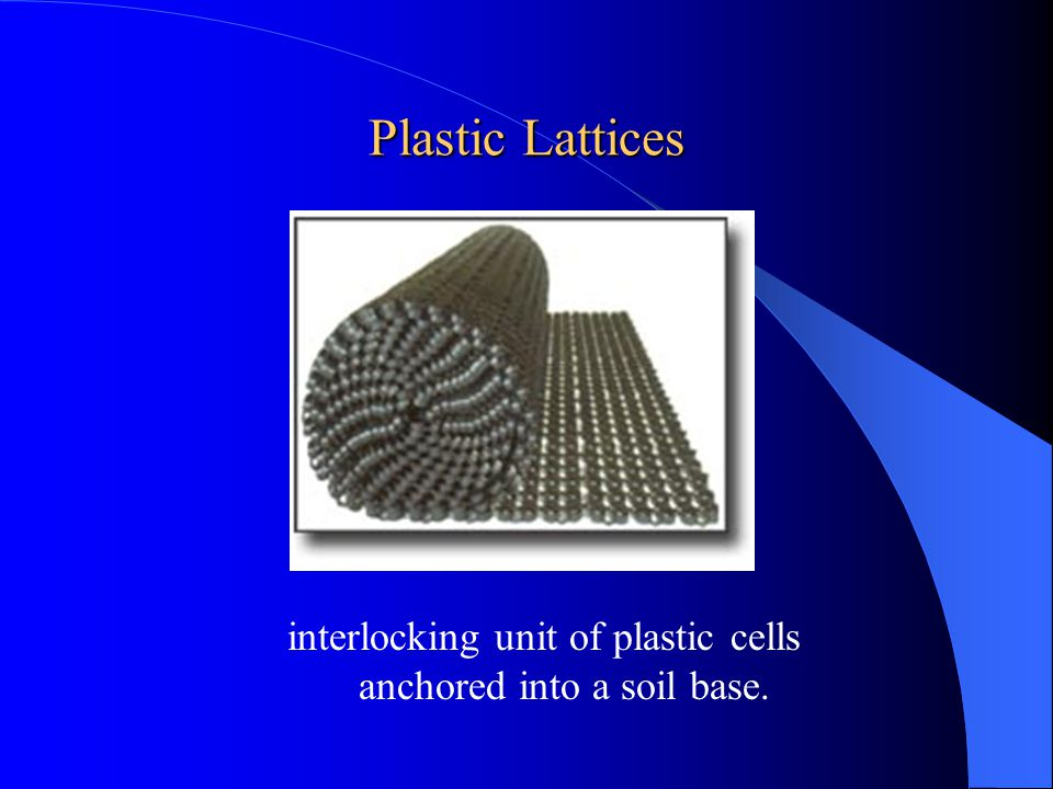 interlocking unit of plastic cells anchored into a soil base.