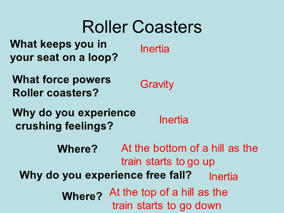 Roller Coasters What keeps you in Inertia your seat on a loop