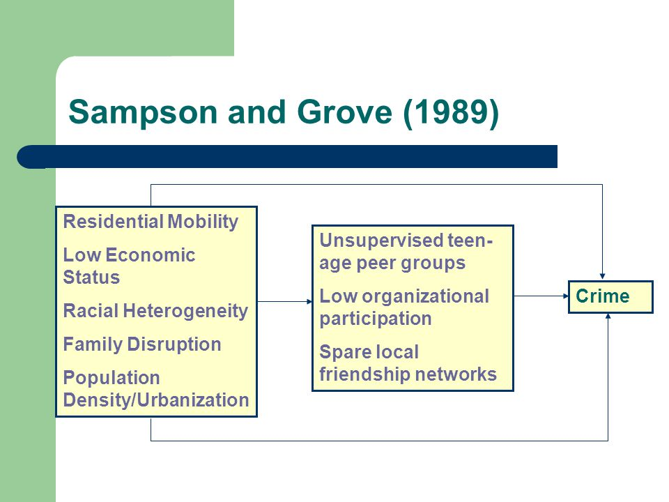 Sampson and Grove (1989) Residential Mobility Low Economic Status