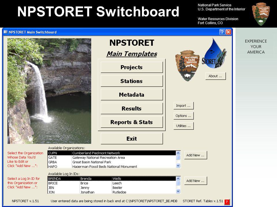 NPSTORET Switchboard