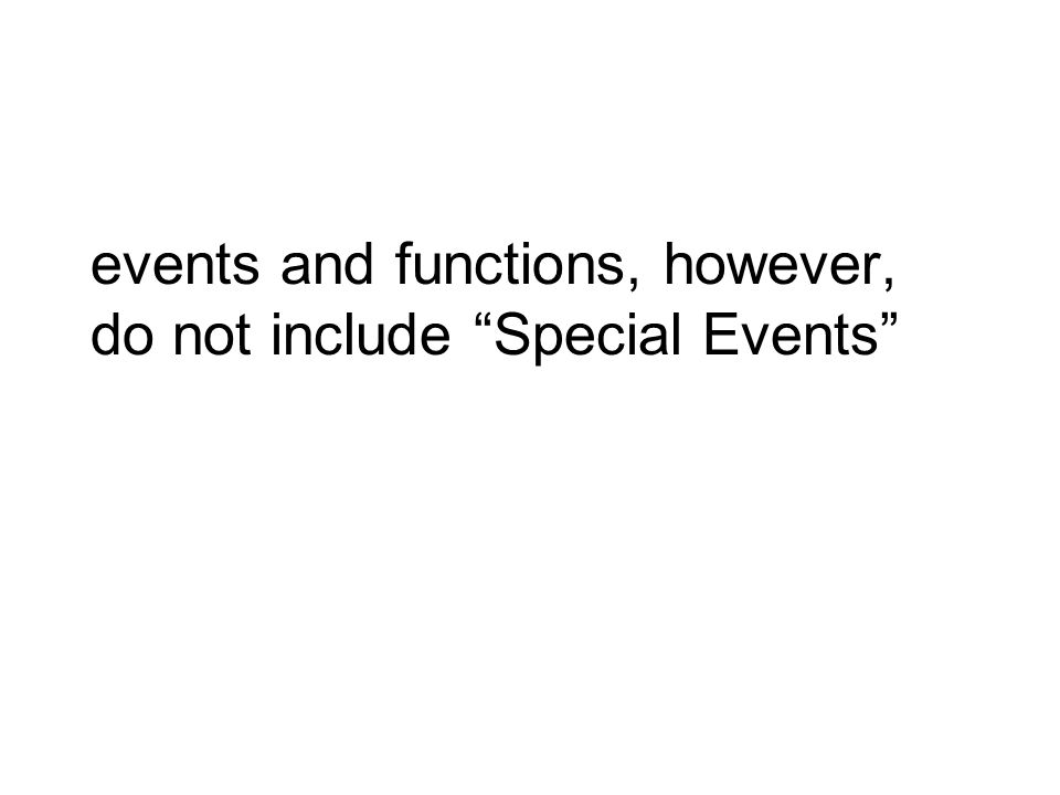 events and functions, however, do not include Special Events