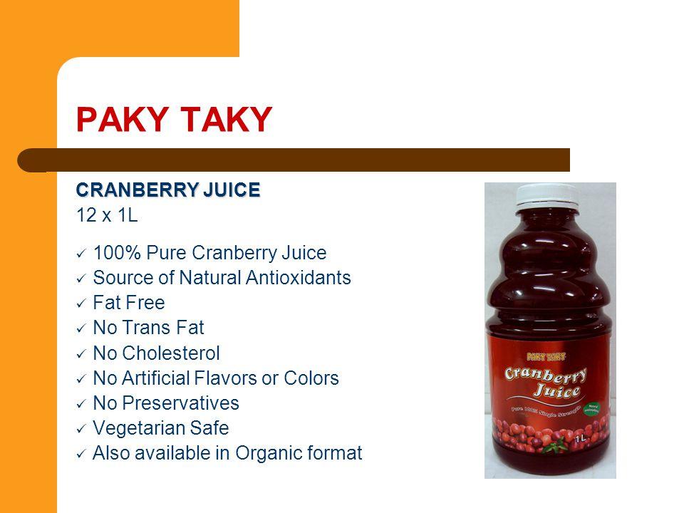 PAKY TAKY CRANBERRY JUICE 12 x 1L 100% Pure Cranberry Juice
