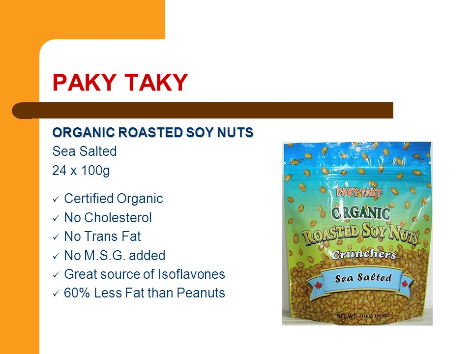 PAKY TAKY ORGANIC ROASTED SOY NUTS Sea Salted 24 x 100g