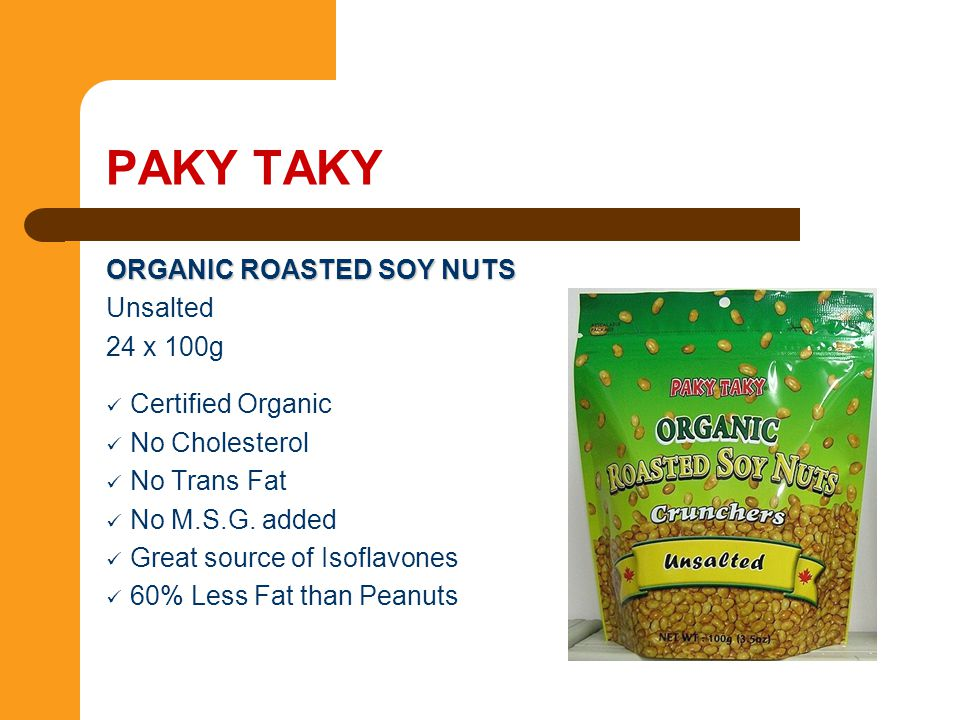 PAKY TAKY ORGANIC ROASTED SOY NUTS Unsalted 24 x 100g