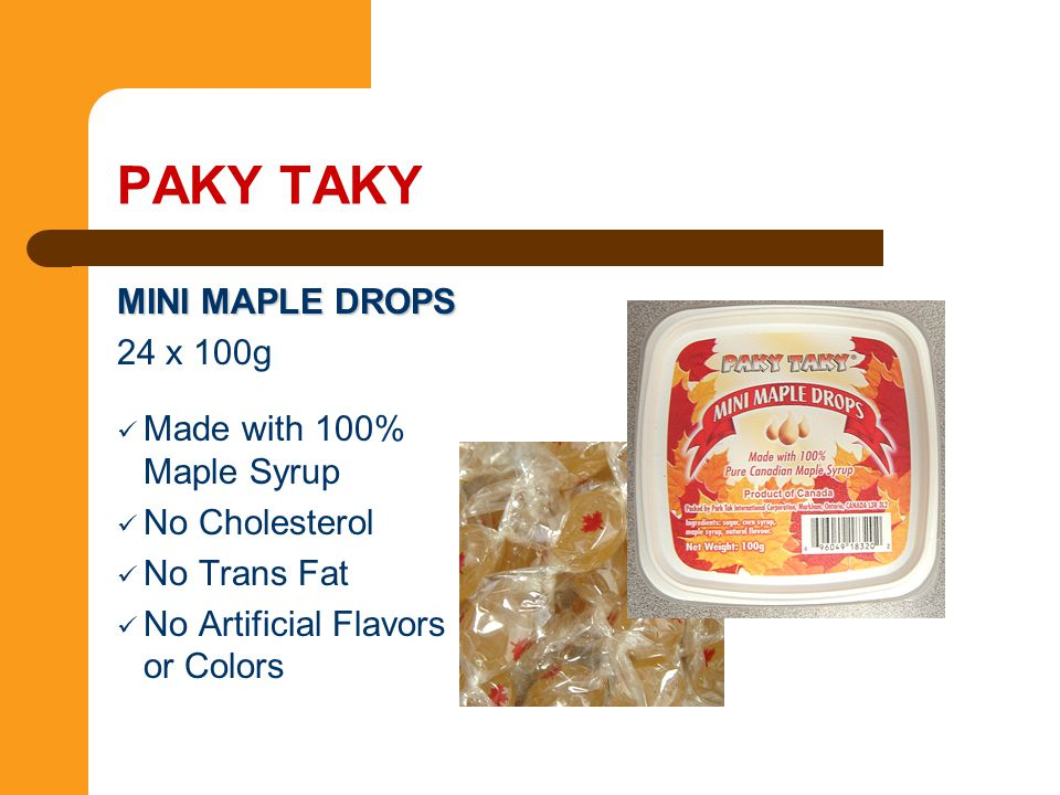 PAKY TAKY MINI MAPLE DROPS 24 x 100g Made with 100% Maple Syrup
