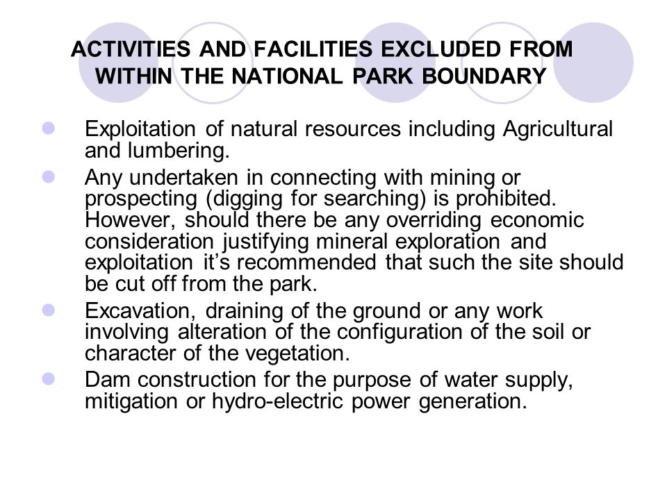 ACTIVITIES AND FACILITIES EXCLUDED FROM WITHIN THE NATIONAL PARK BOUNDARY