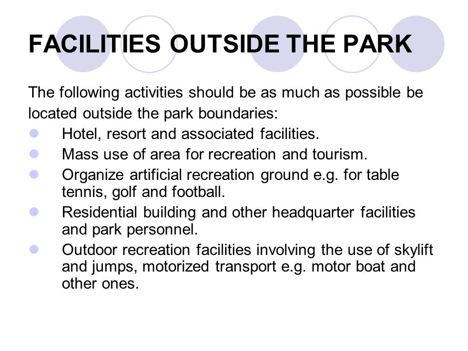 FACILITIES OUTSIDE THE PARK
