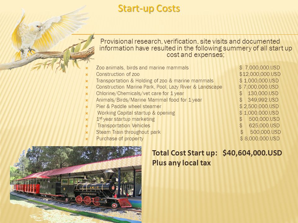 Start-up Costs Total Cost Start up: $40,604,000.USD Plus any local tax