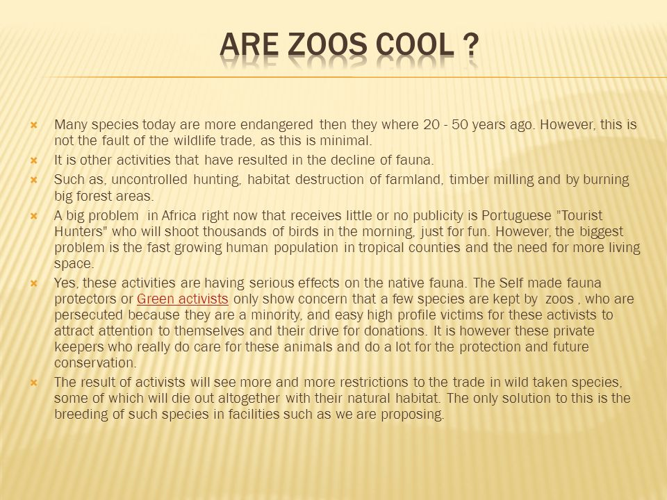 Are Zoos Cool