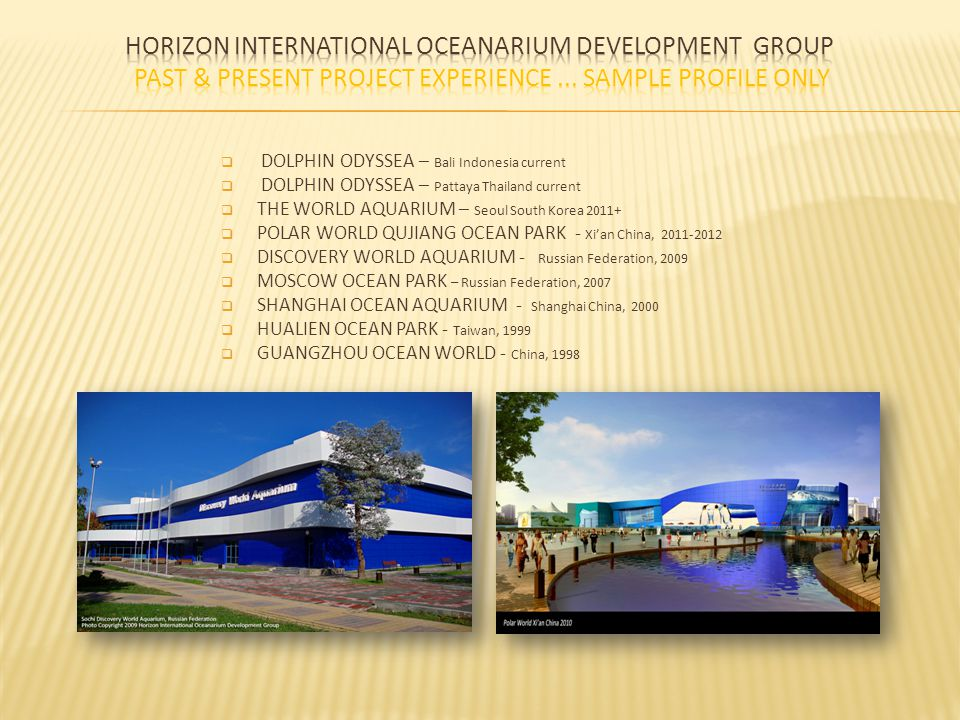Horizon International Oceanarium Development Group Past & present project experience ... sample profile only