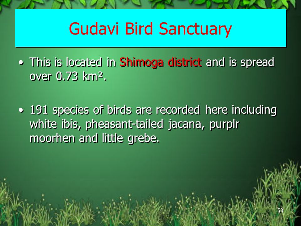 Gudavi Bird Sanctuary This is located in Shimoga district and is spread over 0.73 km².