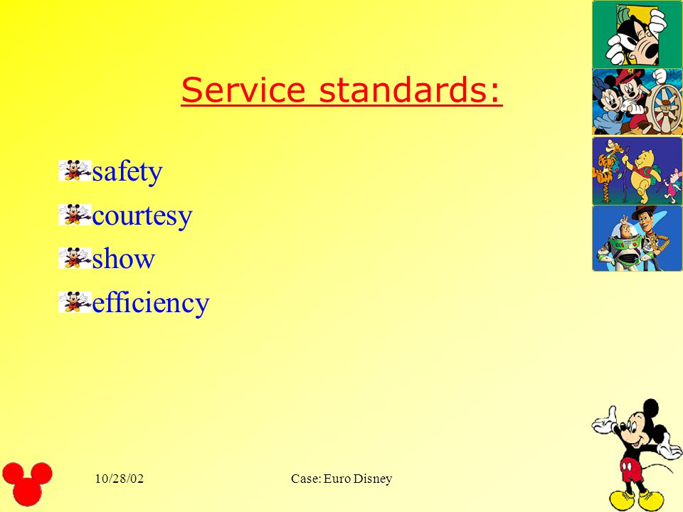 Service standards: safety courtesy show efficiency 10/28/02