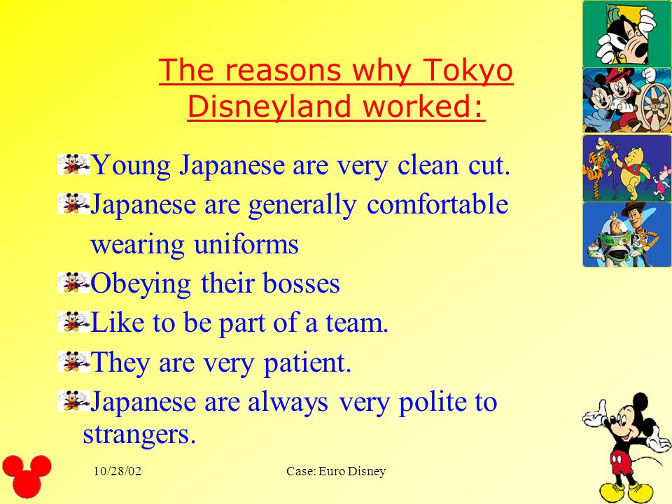 The reasons why Tokyo Disneyland worked:
