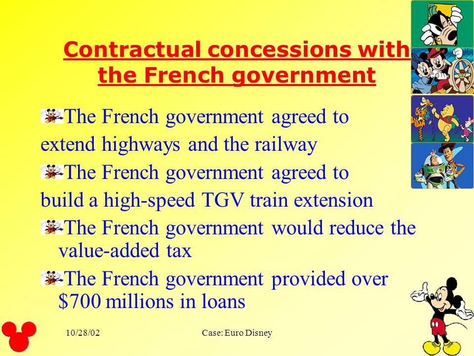 Contractual concessions with the French government