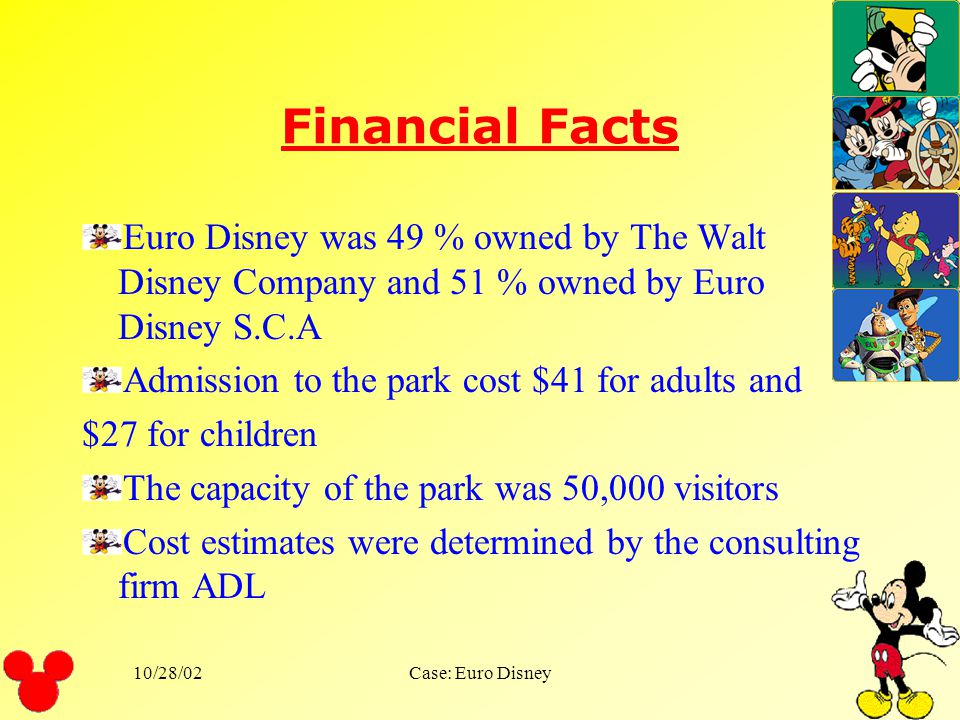 Financial Facts Euro Disney was 49 % owned by The Walt Disney Company and 51 % owned by Euro Disney S.C.A.