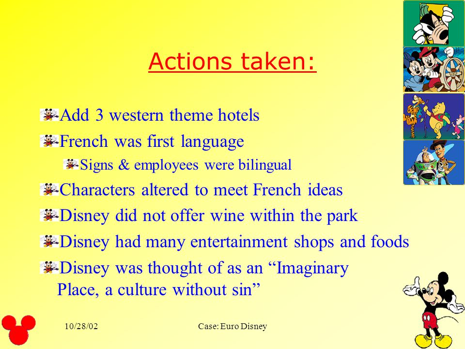Actions taken: Add 3 western theme hotels French was first language
