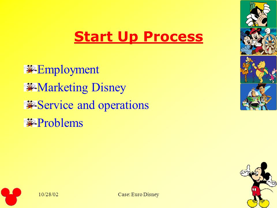 Start Up Process Employment Marketing Disney Service and operations