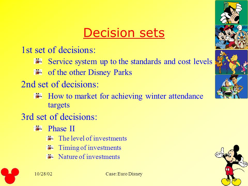 Decision sets 1st set of decisions: 2nd set of decisions: