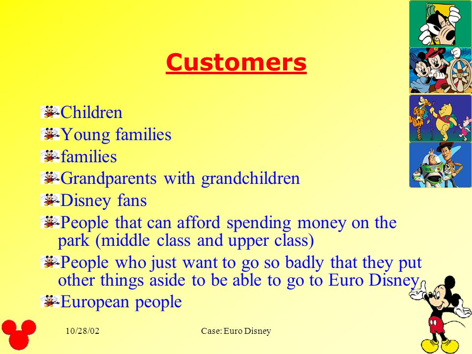 Customers Children Young families families