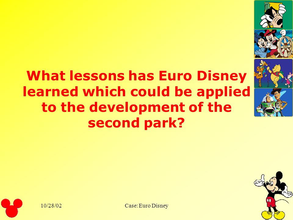 What lessons has Euro Disney learned which could be applied to the development of the second park