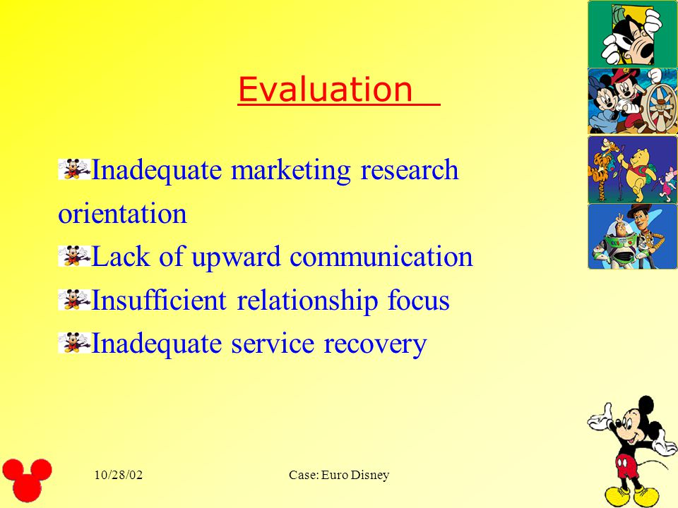 Evaluation Inadequate marketing research orientation