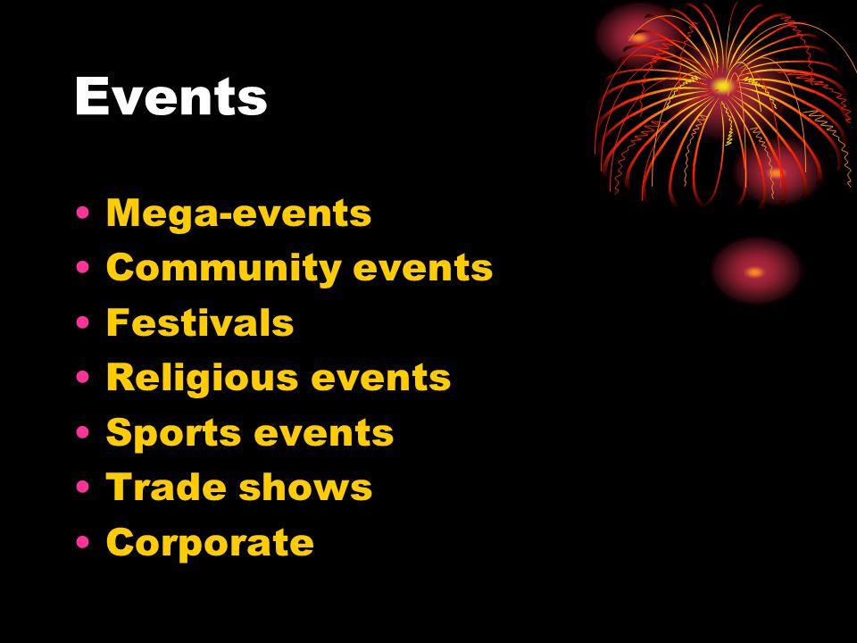 Events Mega-events Community events Festivals Religious events