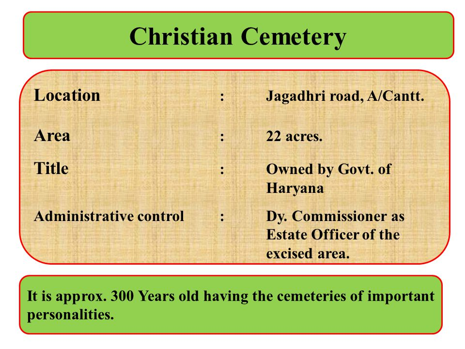 Christian Cemetery Location : Jagadhri road, A/Cantt. Area : 22 acres.