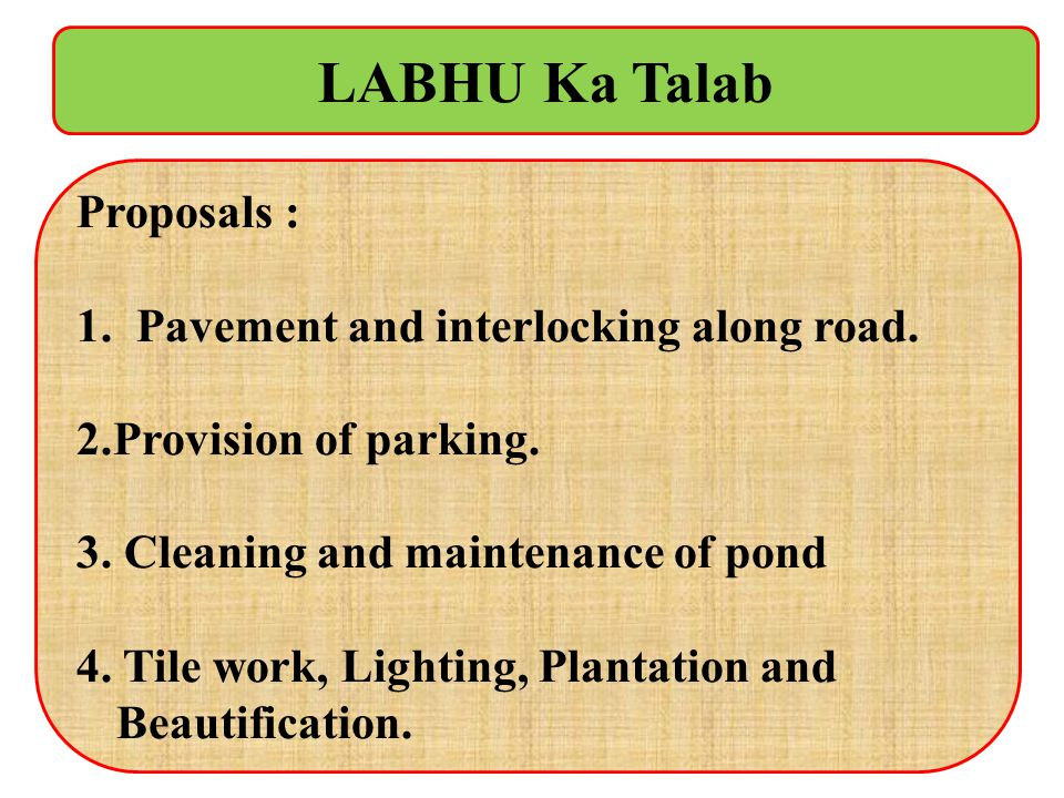 LABHU Ka Talab Proposals : Pavement and interlocking along road.
