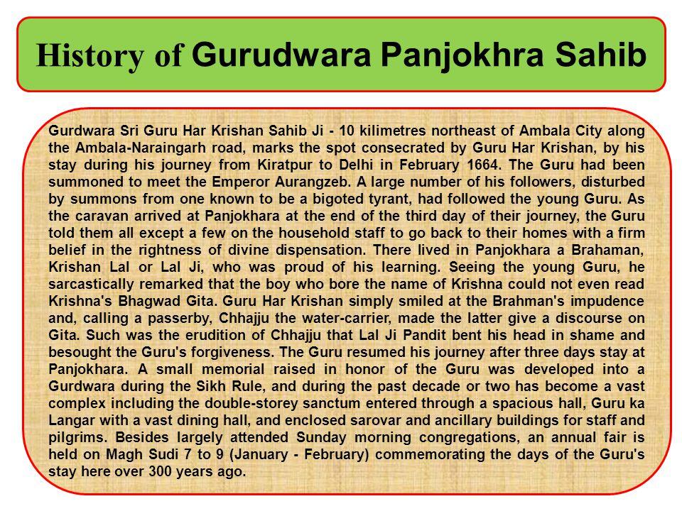 History of Gurudwara Panjokhra Sahib
