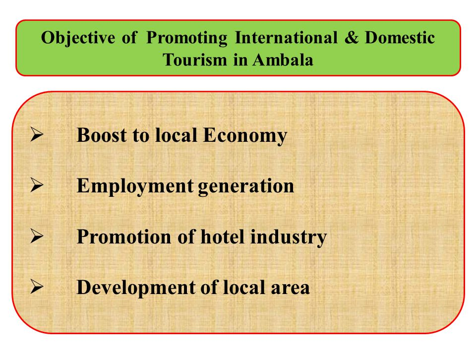 Objective of Promoting International & Domestic Tourism in Ambala