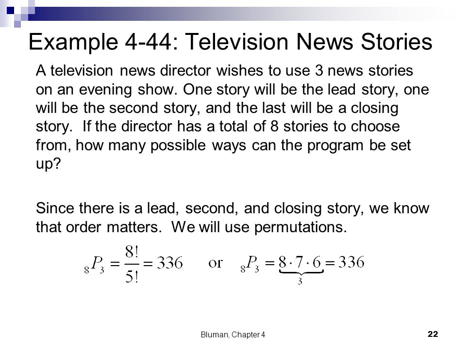Example 4-44: Television News Stories