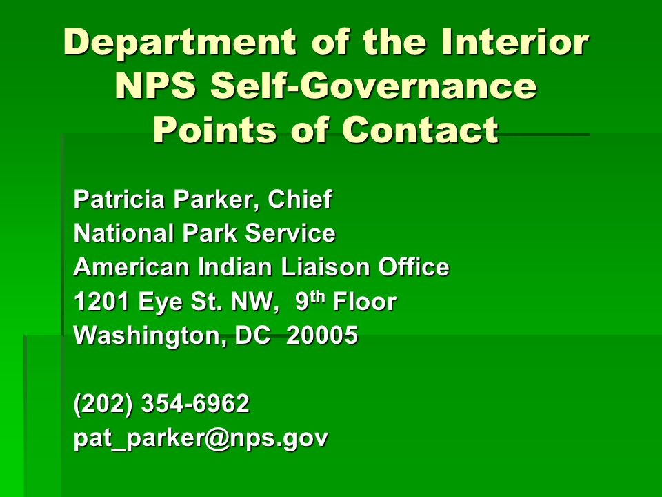 Department of the Interior NPS Self-Governance Points of Contact