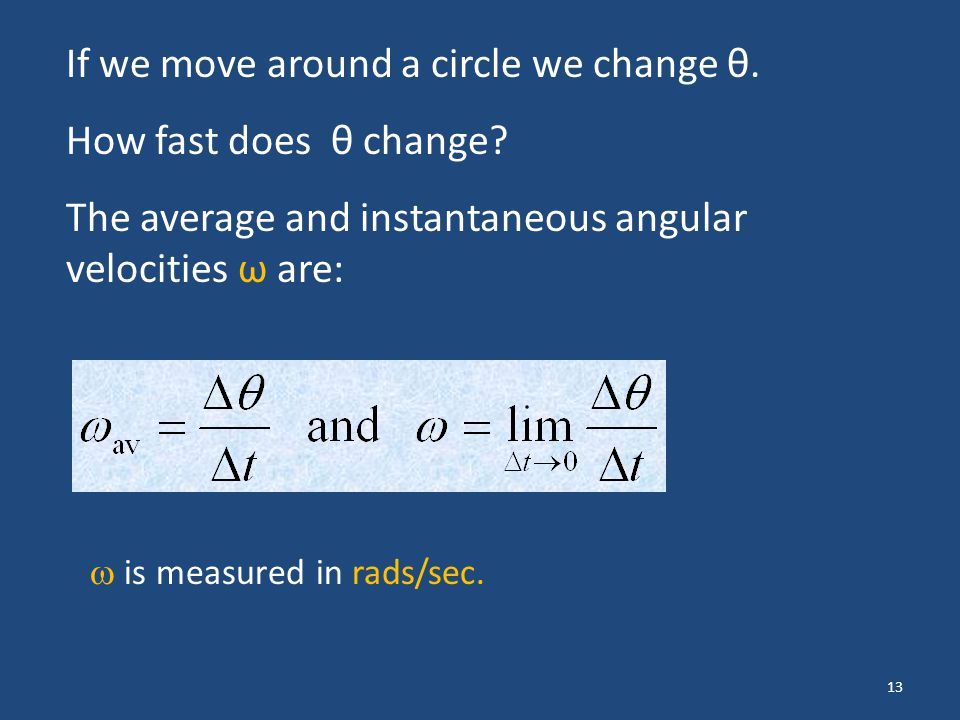 If we move around a circle we change θ. How fast does θ change